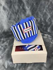 Hunter Boot Socks Size Large Blue White Black Striped