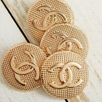 Chanel Buttons STAMPED 4pc CC Gold LG 25mm Vintage Style 4 Buttons AUTH!!!