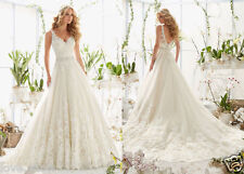 New V-Neck Lace applique +Tulle Wedding dress Backless Bridal Gown Custom Size