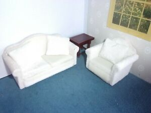 6 PIECE  SOFA SET - WHITE  VELVET  - DOLL HOUSE  MINIATURE