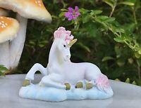 Miniature Dollhouse FAIRY GARDEN ~ Mini Sitting White & Pink Unicorn ~ NEW