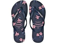 New Havaianas Navy Blue Pink Floral Thong Sandals size 7/8