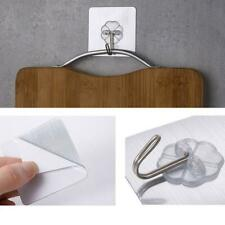 10Pcs Removable Self Adhesive Hooks Wall Door Plastic Strong Holder Sticky P4Z8
