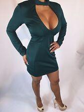 Green Mock Neck Mini Cocktail Evening Party Dress  L