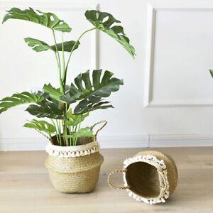 Seagrass Belly Basket Flower Plant Woven Storage Wicker Pot Home Decor LaundrySA