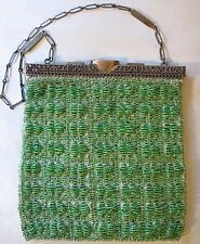 Antique Gold Tone Filigree Double Hinge Frame Knit  Lime Green Glass Bead Purse