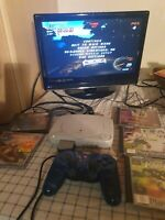 White Sony PS1 PlayStation 1 Slim Mini Console & Controller PS1 SCPH-102+5 games