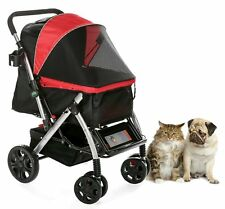 Hpz Pet Rover Premium Heavy-Duty Carriage Stroller for Sm/Md/Lg Dog & Cat - Red