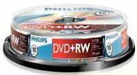 Philips DVD+RW 120 Mins 4.7GB 4X Speed Recordable Blank Discs - 10 Pack Spindle
