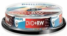 Nueva Philips DVD+RW 120 Min Video 4.7 GB de datos de 4x de velocidad en blanco Disco Husillo 10 Pack