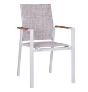 Sessel aus Aluminum weiss und grauen Textilensitz für Aussenbereich