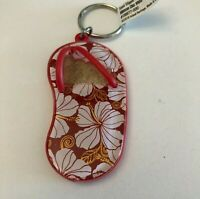 Sand Slipper Sandal White Hibiscus Chic Key Chain Red Hawaii Keychain NWT