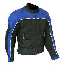 Large Motorcycle Textile Waterproof Jacket w/ Armour Black Blue Biker AUS SELLER
