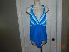 Catalina One Piece Swimsuit Plus Sz 2X Blue striped bust Cross Back