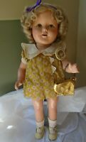 "Vintage 1930s 16"" Compo Ideal Shirley Temple Doll in Tagged Gold Triangle Dress"