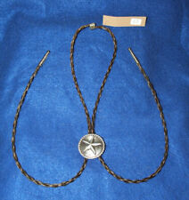 Braided Horsehair Bolo w/ Star of Texas Metal Cowboy Concho Brown & Blonde 02