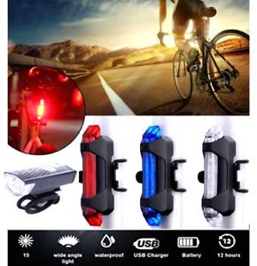 USB Rechargeable Bike Lights Front Rear Hazard Waterproof 5 LED Red White Blue
