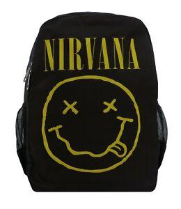 BLACK Nivarna Backpack Rucksack School College Print Grunge Band Smiley Face Bag