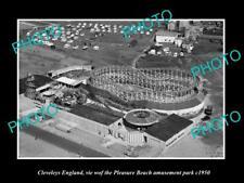 Old Large Historic Photo Of Cleveleys England, Pleasure Beach Amusements c1950