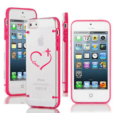 For iPhone 5 5s 6 6s 7 Plus Clear Hard TPU Case Cover Love Heart Cross Christian