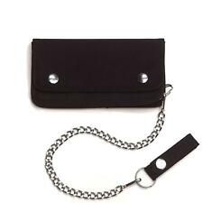 "BLACK TRUCKER BIKER WALLET W 14"" CHAIN & BELT LOOP SNAP CLOSURE BI-FOLD"