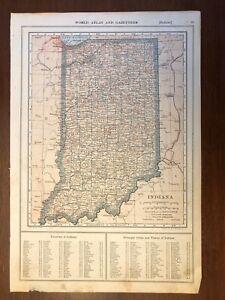 1917 Indiana Map, Encyclopedic Atlas and Gazetteer