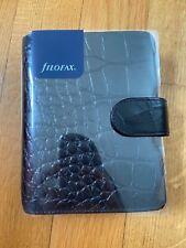 Filofax Pocket Organizer Leder Terminplaner Classic Croc Ebony Schwarz