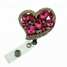 Retractable Alloy ID Badge Holder Reel Red Acrylic Love Heart  ID Name Card