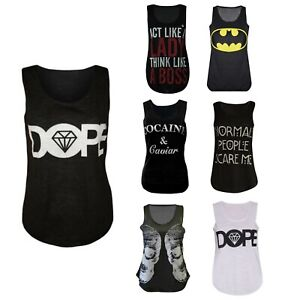 Womens Double Skull Dope Cocaine Caviar Normal People Batman Slogan Vest Top Lot