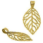 18K Yellow Gold Pl 925 S/Silver SKELETON LEAF pendant
