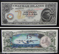 CHATHAM ISLANDS NEW ZEALAND 15 Dollars 2001 UNC