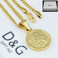 """DG Men's 24"""" Necklace Cuban Curb Chain.ANGEL~Pendant Gold Stainless Steel + Box"""