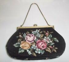 Handtasche Gobelintasche Petit Point Stickerei 59 Strasssteine Goldbügel Vintage