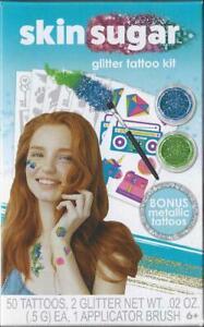 Savvi Skin Sugar Glitter Tattoo Kit - 50 Tattoos + 2 Glitter + 1 Brush - New