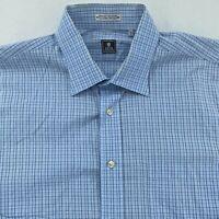 Peter Millar Mens Button Up Dress Shirt L 16 Blue Striped Long Sleeve Plaid