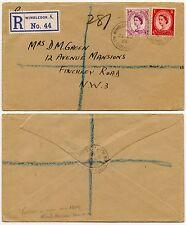 Wimbledon TENNIS PRATO 1954 Ufficio postale mobile annullare registrato x Maleducata