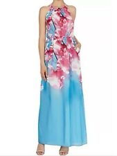 Bnwt🎀Coast🎀Size 12 Multi Cherry Blossom Floral Print Maxi Dress, Blue Pink New