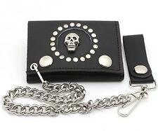 Trifold Black Leather Biker Wallet Skull & Rivets Design w/ a Chain