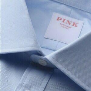 Thomas Pink Dress Shirt Classic Fit Solid Blue 16.5 x 36/37 Long