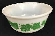 "Hazel Atlas Large 9"" Green Ivy Nesting Mixing Bowl 2.5 Qt Vintage Made In USA"