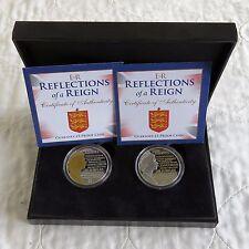 Guernsey 2015 error par de reflexiones de reinado £ 5 prueba corona con tinta de oro