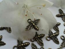 Antique Bronze Mini Bee Charms 15pcs Steampunk Vintage Pendants Kitsch Insect