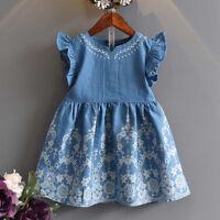Summer Children Kids Baby Girls Short Sleeve Floral Denim Party Princess Dress