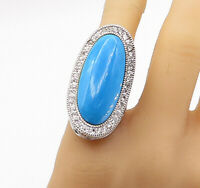 925 Sterling Silver - Turquoise & Topaz Large Oblong Cocktail Ring Sz 7 - R16698