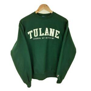 Champion Tulane School College Sweatshirt Green Crewneck Jumper Size Medium