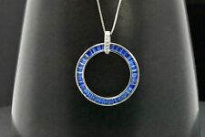925 Sterling Silver Round Blue Baguette Circle 2.60ct Sapphire Pendant Necklace