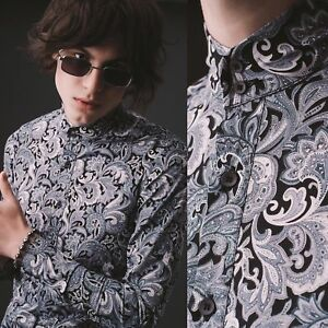 Mens Vintage Black 60s Paisley Kaftan Shirt Long Sleeve Retro Mod XS S M L XL