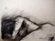 "Vladimir Cora - 16.5"" x 11.75"" Signed Original Charcoal Drawing Nude Female"