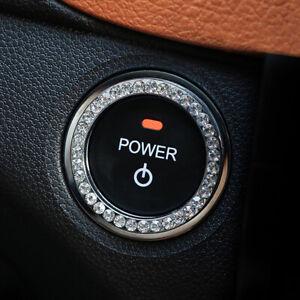 Auto Car SUV Decorative Silver Accessories Button Start Switch Diamond Ring 1pc