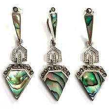 GREAT ART DECO STYLE ABALONE MARCASITE SET PENDANT EARRING 925 STERLING SILVER
